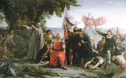 dioscoro teofilo puebla tolin the first landing of christopher columbus in america oil painting reproduction
