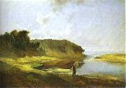 Alexei Savrasov Landscape with River and Angler oil painting reproduction