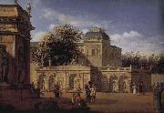 Jan van der Heyden Baroque palace courtyard oil painting