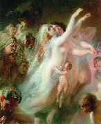 Konstantin Makovsky Charon transfers the souls of deads over the Stix river oil painting