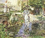 Theodore Robinson Pere Trognon and His Daughter at the Bridge oil painting reproduction