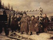 Vasily Perov At the railroad oil painting