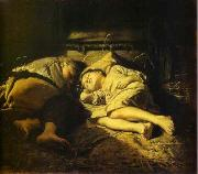Vasily Perov Sleeping children oil painting