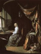 christian schubart a 17th century dutch painting by gerrit dou of woman at the clvichord. oil painting reproduction