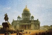 nikolay gogol rhe statue of peter the great in front of the cathedral in st petersburg oil painting