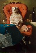 Alfred Dedreux Pug Dog in an Armchair oil painting