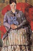 Paul Cezanne madame cezanne in a red armcbair oil painting reproduction