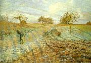 Camille Pissarro hoarfrost the old road to ennery oil painting reproduction