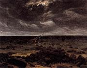 Caspar David Friedrich Seashore with Shipwreck by Moonlight oil painting reproduction