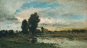 Charles Francois Daubigny French River Scene oil painting