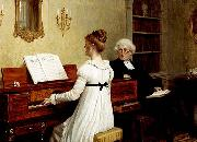 Edmund Blair Leighton Singing to the reverend oil painting