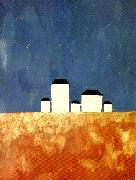 Kazimir Malevich landscape with five houses oil painting