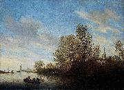 Salomon van Ruysdael River View near Deventer. oil painting