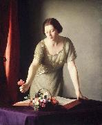 William McGregor Paxton Girl Arranging Flowers oil painting reproduction