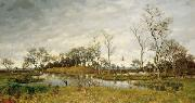 unknow artist Landscape of swamp with heron oil painting reproduction