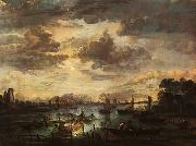 Aert van der Neer Fishing at Moonlight oil painting