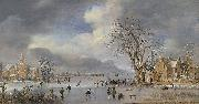 Aert van der Neer A winter landscape with skaters and kolf players on a frozen river, oil painting