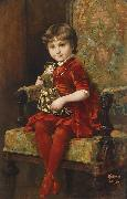 Alois Hans Schram Young Girl with Doll oil painting