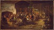 Attributed to Wilkie The Christmas Party. oil painting