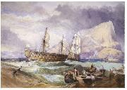 Clarkson Frederick Stanfield H.M.S 'Victory' towed into Gibraltar, oil painting reproduction