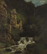 Courbet, Gustave Landscape with Waterfall oil painting reproduction
