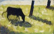 Georges Seurat Vache noire dans un Pre oil painting reproduction