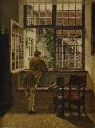 Henrik Nordenberg Interior with a boy at a window oil painting