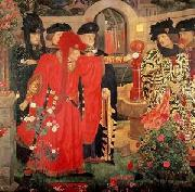 Henry Arthur Payne Plucking the Red and White Roses in the Old Temple Gardens oil painting