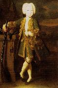 Louis Caravaque Portrait of a boy. Was att. as Peter III or Peter II's portrait, possibly Elizabeth in men's dress oil painting