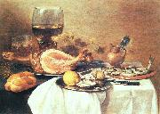 Pieter Claesz A ham, a herring, oysters, a lemon, bread, onions, grapes and a roemer oil painting