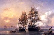 Alexey Bogolyubov Capturing of Swedish 44-gun frigate Venus by Russian 22-gun cutter Merkuriy of June 1, 1789. oil painting