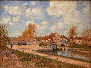 Alfred Sisley The Bourgogne Lock at Moret Spring oil painting reproduction