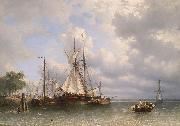 Antonie Waldorp Sailing ships in the harbor oil painting