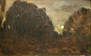 Charles Francois Daubigny Rising Moon in Barbizon oil painting