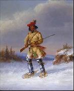 Cornelius Krieghoff Indian Trapper with Red Feathered Cap in Winter oil painting