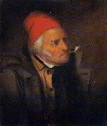 Cornelius Krieghoff 'Man With Red Hat and Pipe' oil painting