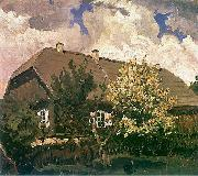 Ferdynand Ruszczyc Manor house in Bohdanow oil painting