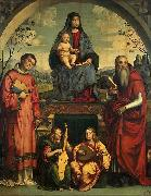 Francesco Francia Madonna and Child with Sts Lawrence and Jerome oil painting