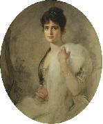 Friedrich August von Kaulbach A portrait of a lady oil painting