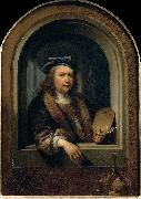 Gerard Dou self-portrait with a Palette oil painting reproduction
