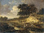 Jan Wijnants Landscape with a rider watering his horse. oil painting reproduction