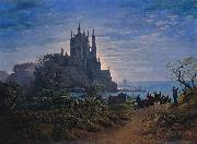 Karl friedrich schinkel Gothic Church on a Rock by the Sea oil painting reproduction