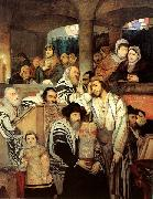 Maurycy Gottlieb Jews Praying in the Synagogue on Yom Kippur oil painting