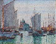 Max Arthur Stremel Schiffe an der Zattere in Venedig oil painting reproduction