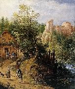 Pieter van Gunst Mountain Valley with Inn and Castle oil painting