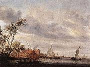 Salomon van Ruysdael River Scene with Farmstead oil painting