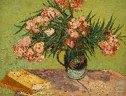 Vincent Van Gogh Vase with Oleanders and Books oil painting reproduction