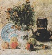 Vincent Van Gogh Vase with Flowers, Coffeepot and Fruit oil painting reproduction