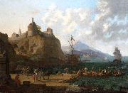 Adriaen Coorte A  mediterranean harbour scene with numerous figures on a que beneath a fort oil painting reproduction