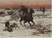 Alfred William Hunt,RWS The hunters oil painting